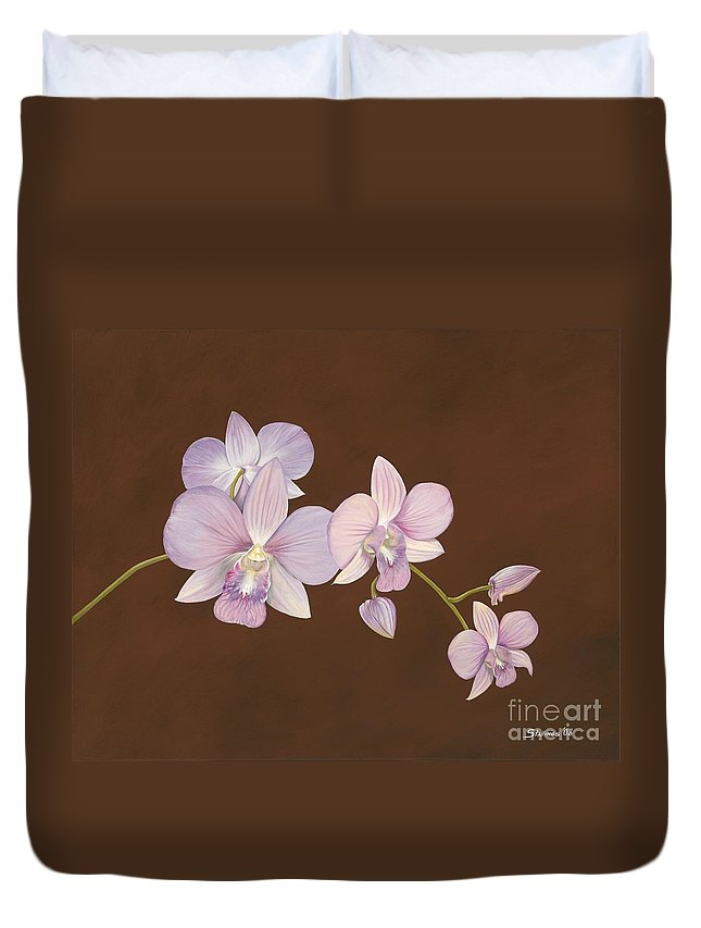 Orchid Duvet Cover featuring the painting Pink Orchids by Shawn Stallings