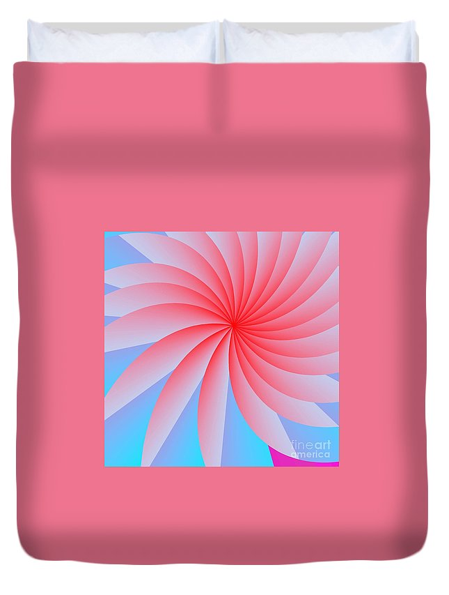 Abstract Duvet Cover featuring the digital art Pink Passion Flower by Michael Skinner