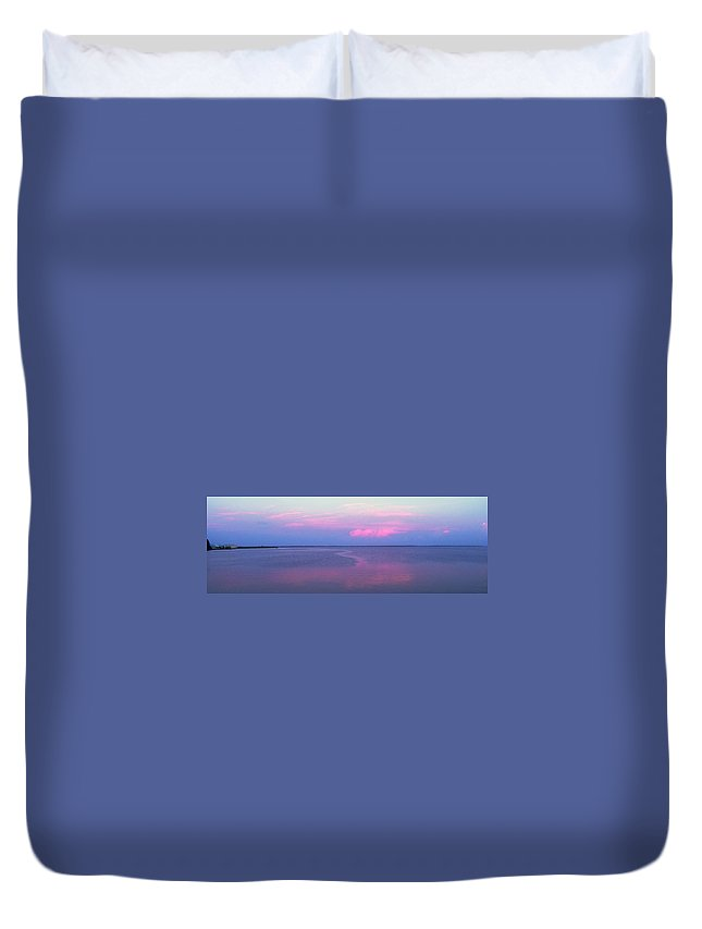 Sunset Duvet Cover featuring the photograph Pink Path by Ian MacDonald