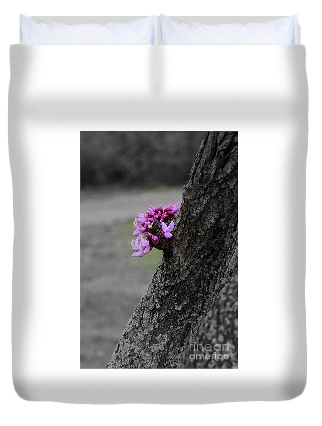 Tree Duvet Cover featuring the photograph Pink Peeking At You by Karen King