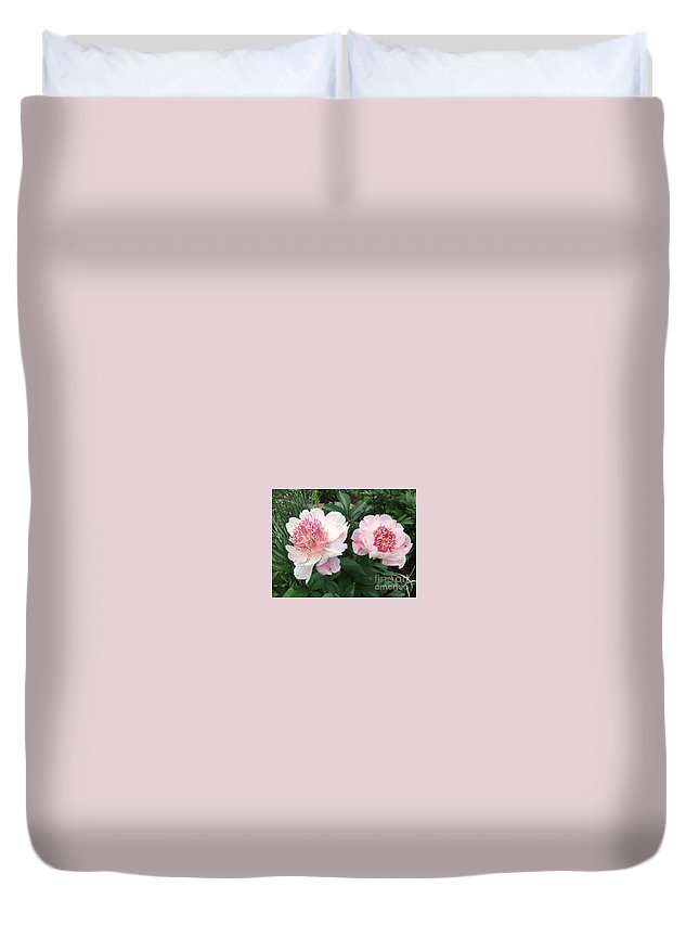 Duvet Cover featuring the photograph Pink Peonies by Jeannie Rhode