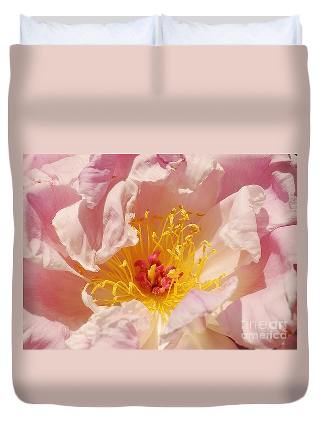 Flora Duvet Cover featuring the photograph Pink Peony by Rudi Prott