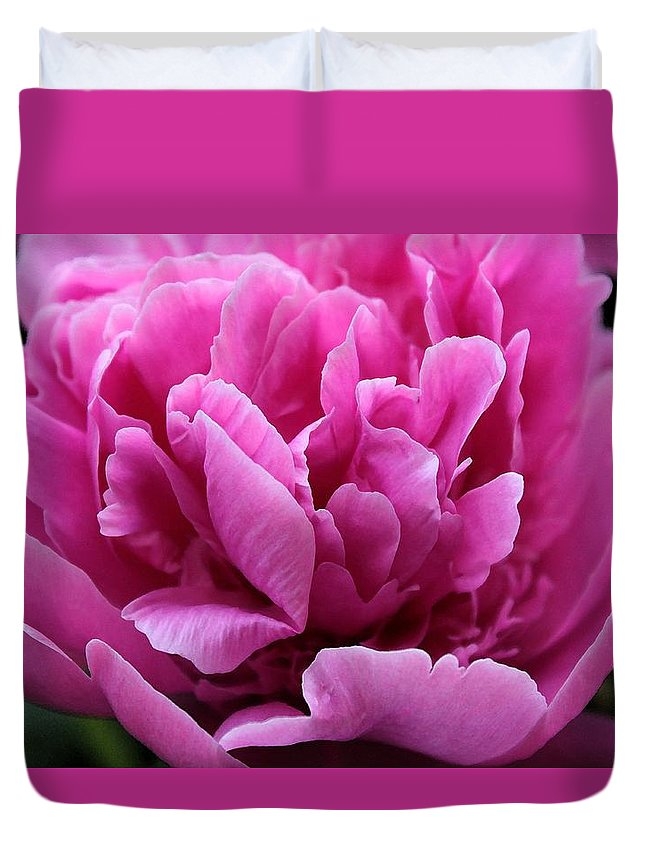 Pink Duvet Cover featuring the photograph Pink Peony Watercolor by Carolyn Jacob