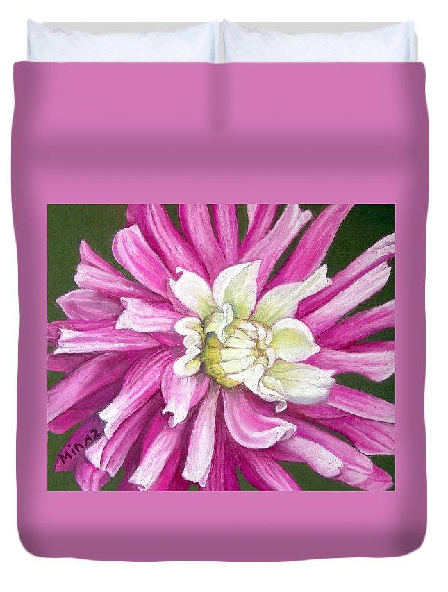 Floral Duvet Cover featuring the painting Pink Petal Blast by Minaz Jantz