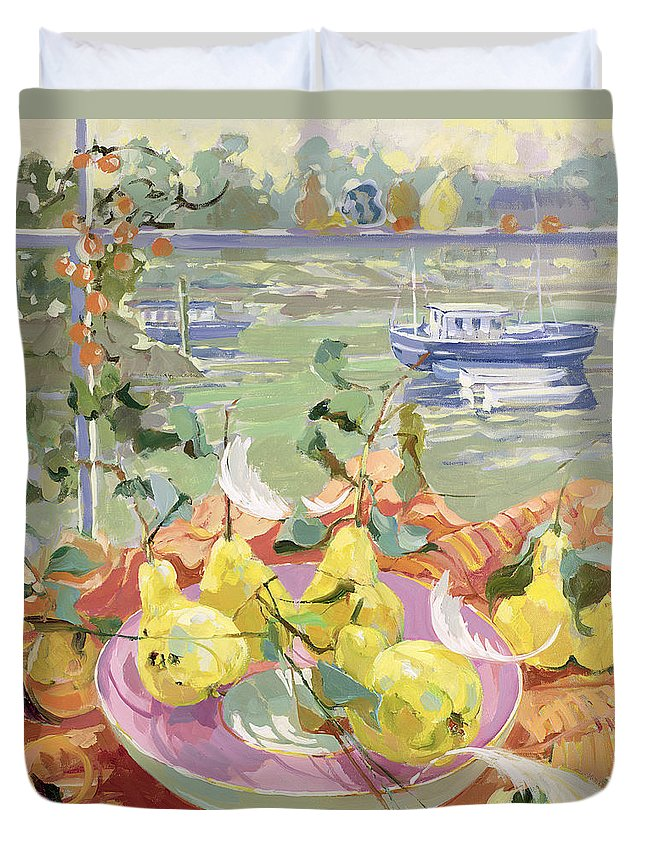 Still-life Duvet Cover featuring the painting Pink Plate Of Pears by Elizabeth Jane Lloyd