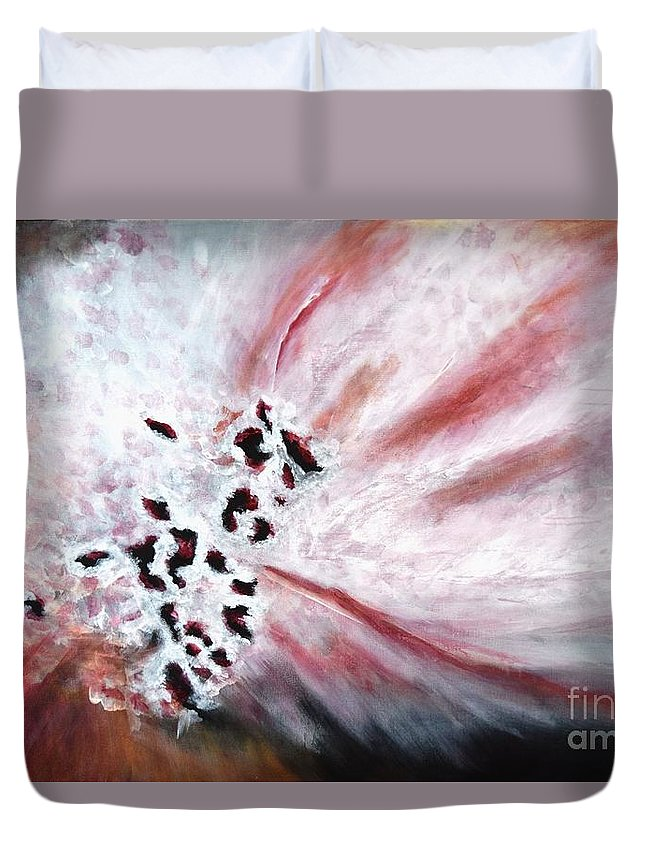 Original Acrylic Painting On Canvas Duvet Cover featuring the painting Pink Pollinator by Adrianna Tarsha - McMillan
