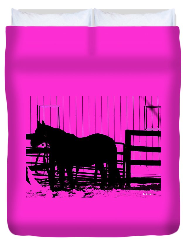 Pink Pony Duvet Cover featuring the photograph Pink Pony by Ed Smith
