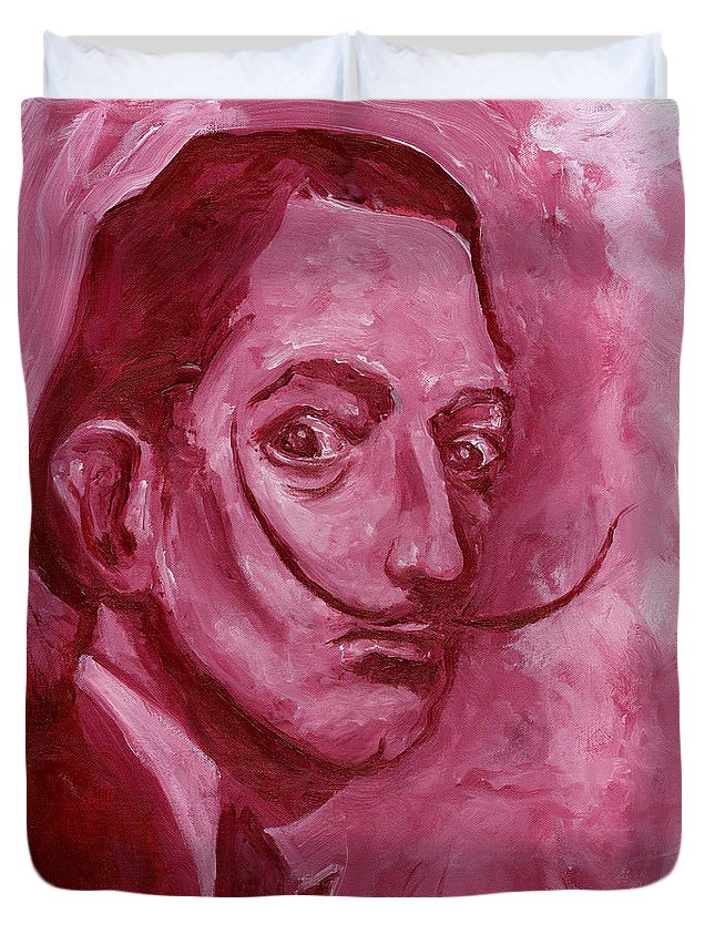 Dali Duvet Cover featuring the painting Pink Rhinoceros by Jon Griffin