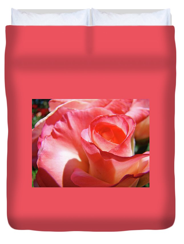Rose Duvet Cover featuring the photograph Pink Rose Art Prints Floral Summer Rose Flower Baslee Troutman by Baslee Troutman
