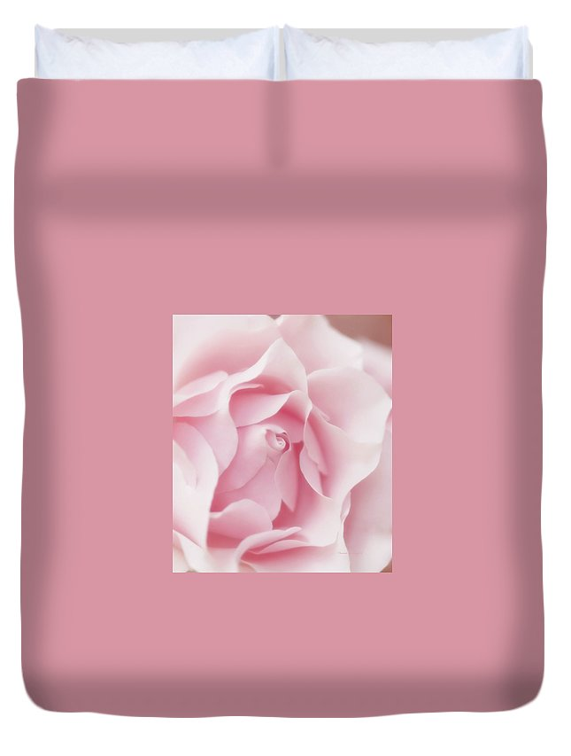 Pink Duvet Cover featuring the photograph Pink Rose Bud Just Starting To Open by Thomas Woolworth