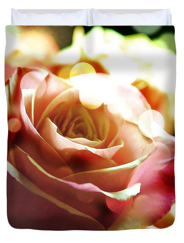 Pink Duvet Cover featuring the photograph Pink Rose In Sparkling Lights by Cindy Boyd