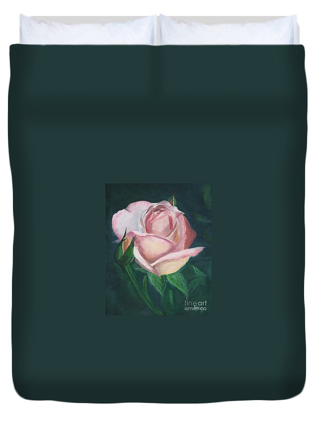 Rose Duvet Cover featuring the painting Pink Rose by Mendy Pedersen