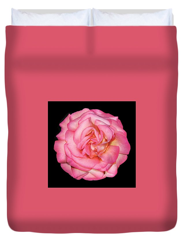 Duvet Cover featuring the photograph Pink Rose by Peter Arnold