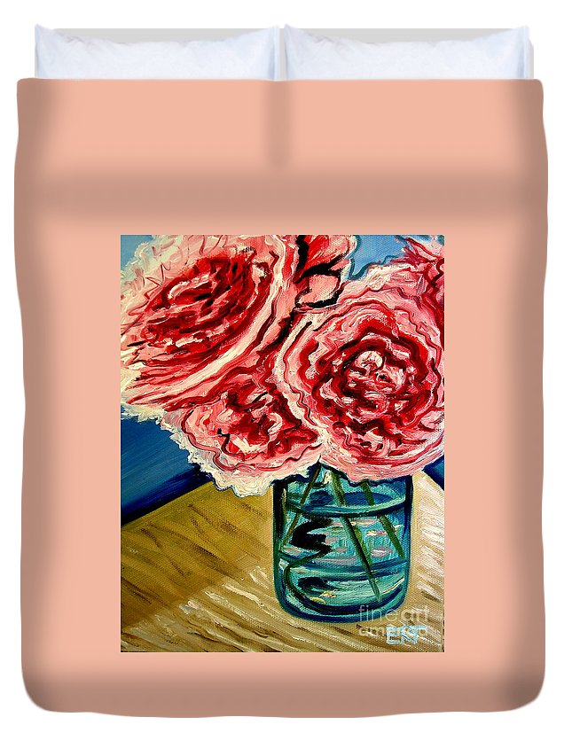 Floral Duvet Cover featuring the painting Pink Ruffled Peonies by Elizabeth Robinette Tyndall