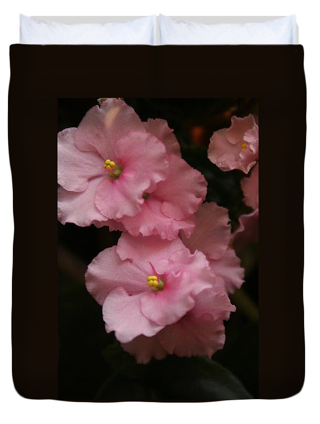 Flowers Duvet Cover featuring the photograph Pink Slippers by Rebecca Smith