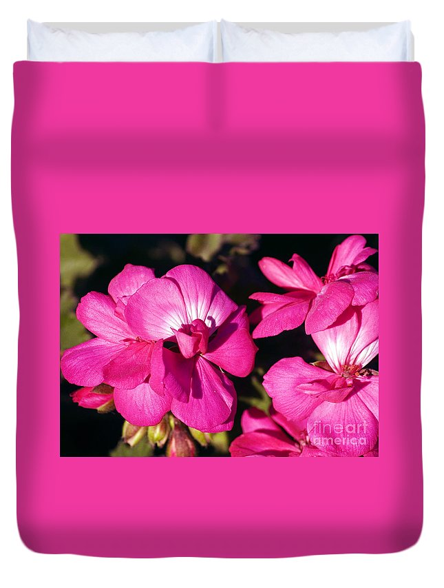 Clay Duvet Cover featuring the photograph Pink Spring Florals by Clayton Bruster