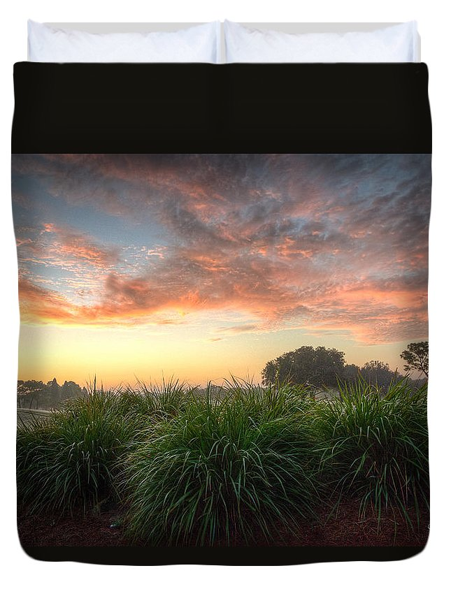 Tee Duvet Cover featuring the photograph Pink Sunrise by Ronald Kotinsky