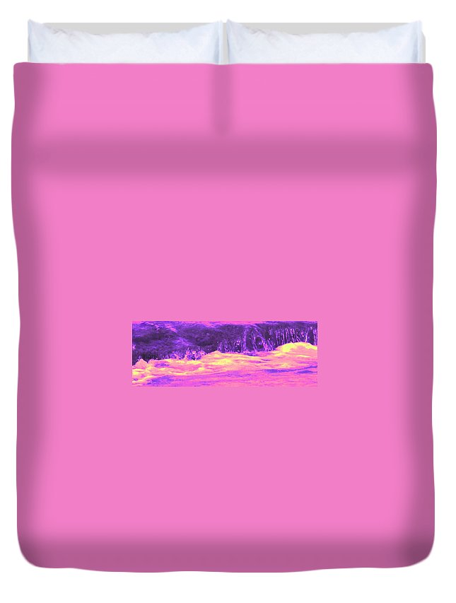 Seascape Duvet Cover featuring the photograph Pink Tidal Pool by Ian MacDonald