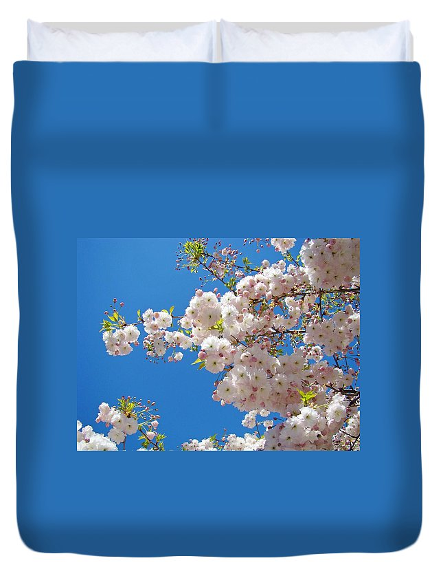 �blossoms Artwork� Duvet Cover featuring the photograph Pink Tree Blossoms Art Prints 55 Spring Flowers Blue Sky Landscape by Baslee Troutman