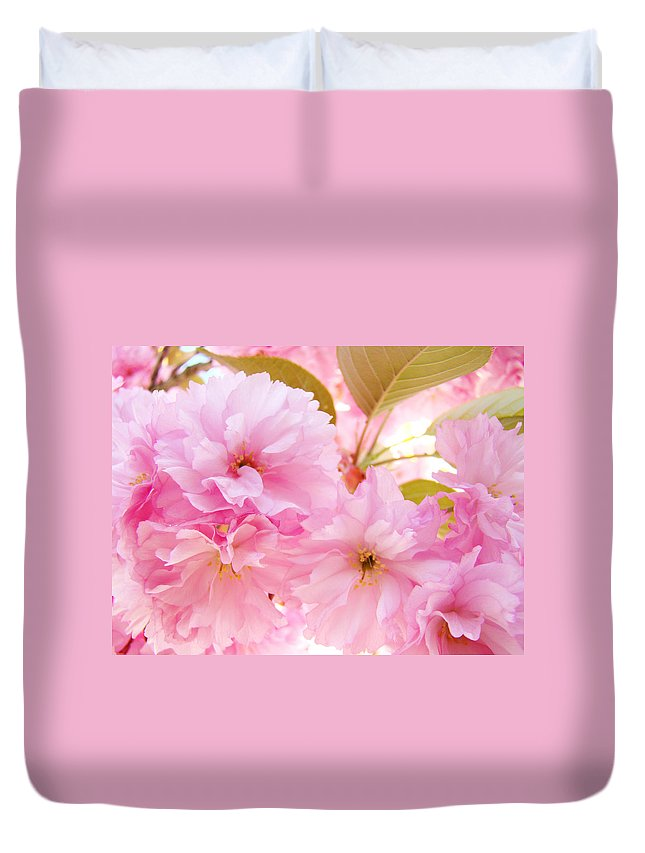 Blossom Duvet Cover featuring the photograph Pink Tree Blossoms Art Prints Spring Blossoms Baslee Troutman by Baslee Troutman