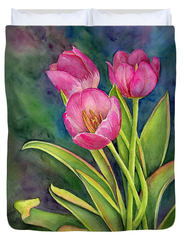 Pink Duvet Cover featuring the painting Pink Tulip Twist by Amy Kirkpatrick