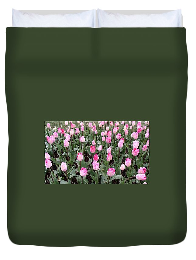 Duvet Cover featuring the photograph Pink Tulips by Valerie Josi