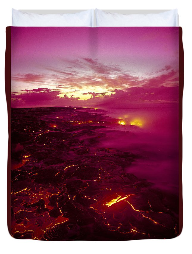 2003va Earlier Duvet Cover featuring the photograph Pink Volcano Sunrise by Ron Dahlquist - Printscapes