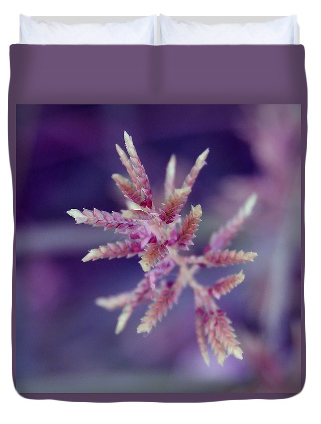 Nature Duvet Cover featuring the photograph Pink Weed by Linda Sannuti