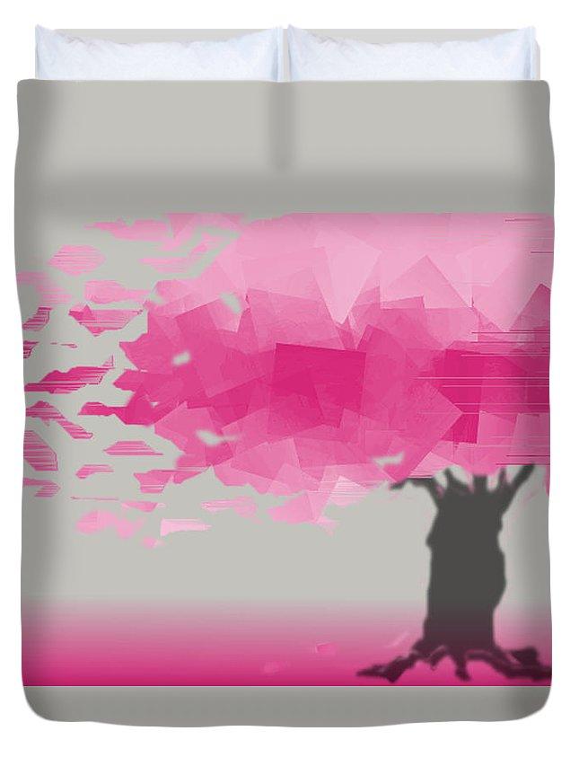 Hot Pink Duvet Cover featuring the digital art Pink Wind by Hannah Breidenbach