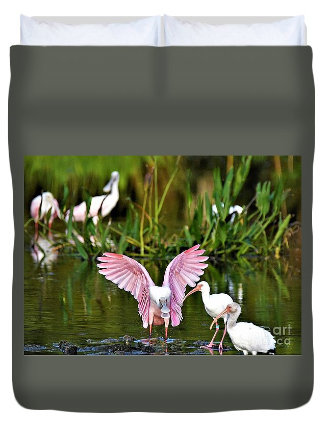 Roseate Spoonbill Duvet Cover featuring the photograph Pink Wings by Julie Adair