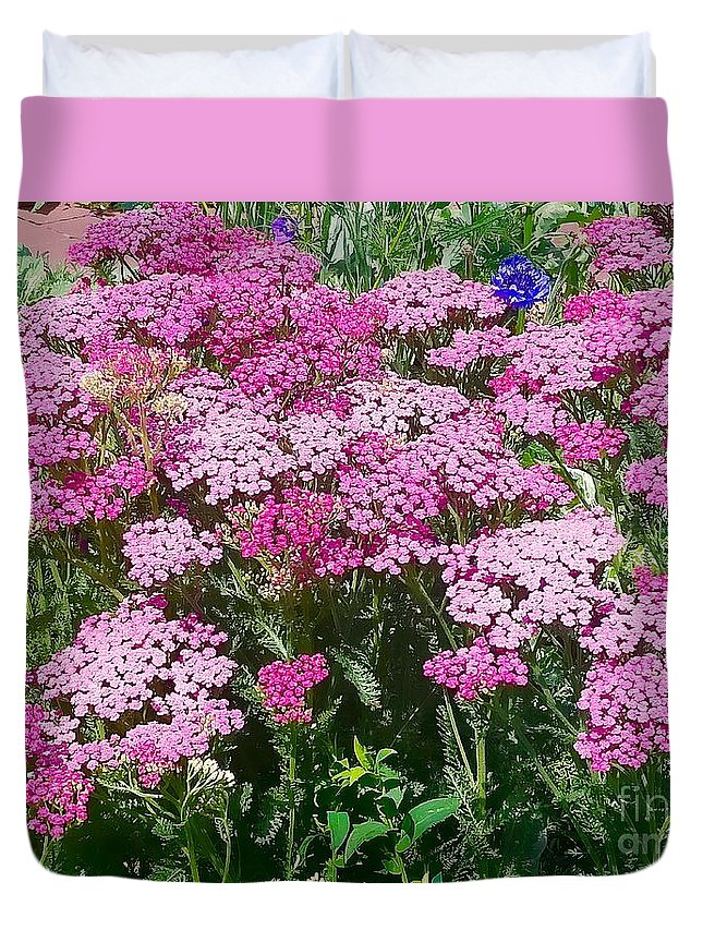 Yarrow Duvet Cover featuring the photograph Pink Yarrows by Mioara Andritoiu
