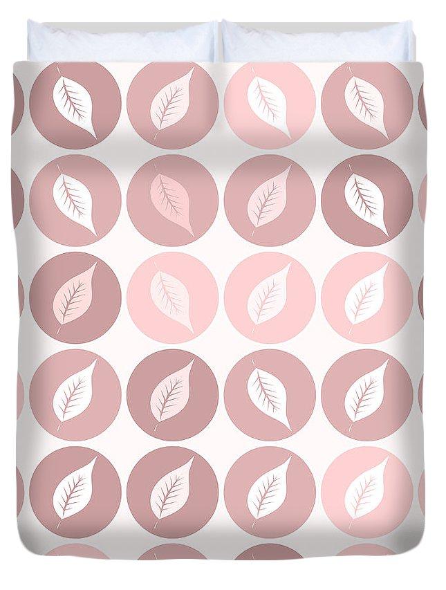 Pattern Duvet Cover featuring the digital art Pinkish Leaves by Gaspar Avila