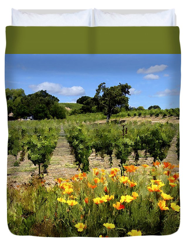 Vineyards Duvet Cover featuring the photograph Pinot Noir And Poppies by Kurt Van Wagner
