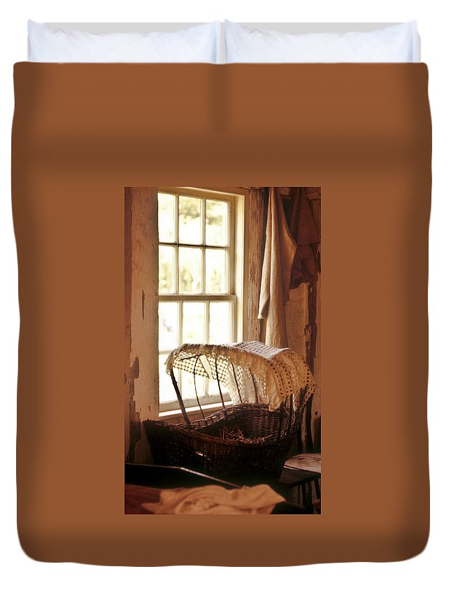 Pioneer Duvet Cover featuring the photograph Pioneer Baby Bassinet by Douglas Barnett