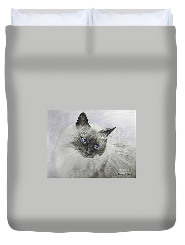 Animals Duvet Cover featuring the mixed media Pip by Mary Rogers