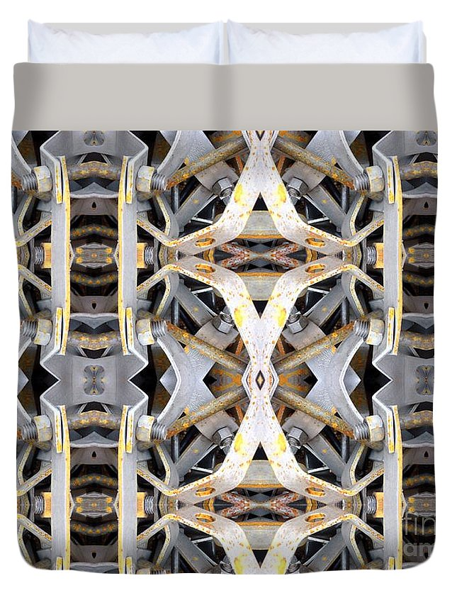 Abstract Duvet Cover featuring the digital art Pipe Hanger by Ron Bissett