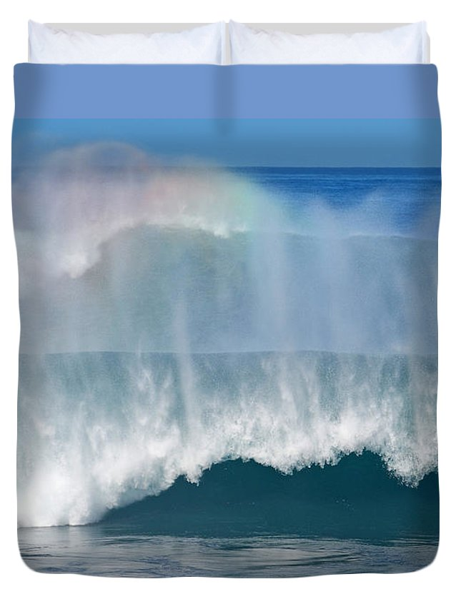 Rainbow Duvet Cover featuring the photograph Pipeline Rainbow by Kevin Smith