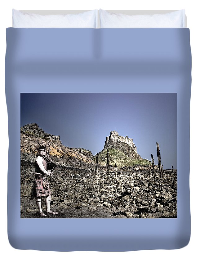 Duvet Cover featuring the digital art Piper Plays To The Past by Vicki Lea Eggen