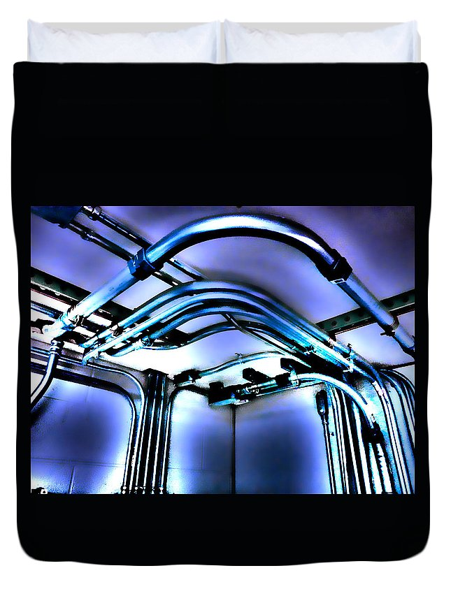 Pipes Duvet Cover featuring the photograph Pipes In Third Dimension by Kevin Goss
