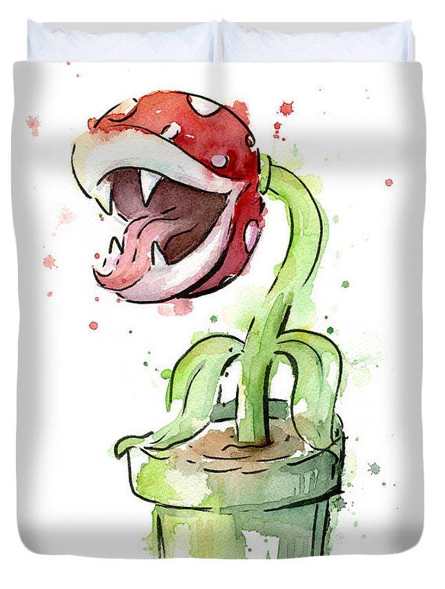 Piranha Duvet Cover featuring the painting Piranha Plant Watercolor by Olga Shvartsur