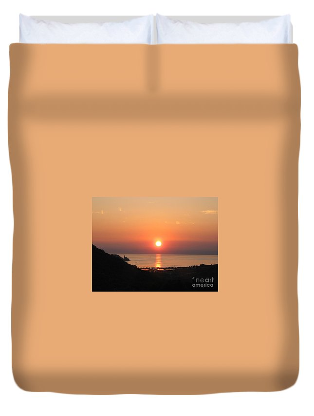 Sunset Sea Duvet Cover featuring the photograph Piran's Sunset I by Dragica Micki Fortuna