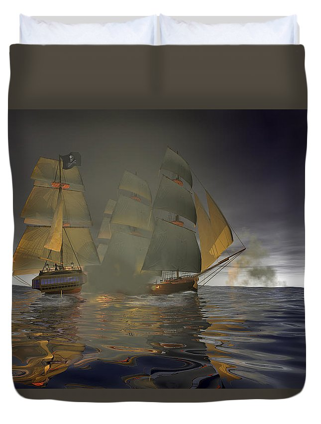 Pirate Duvet Cover featuring the digital art Pirate Attack by Carol and Mike Werner