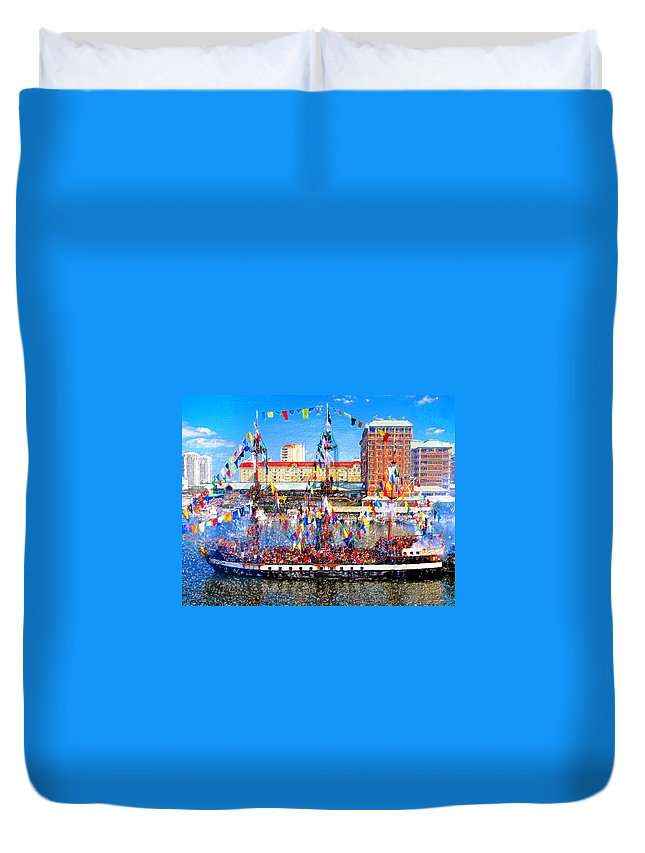 Art Duvet Cover featuring the painting Pirate Colors by David Lee Thompson