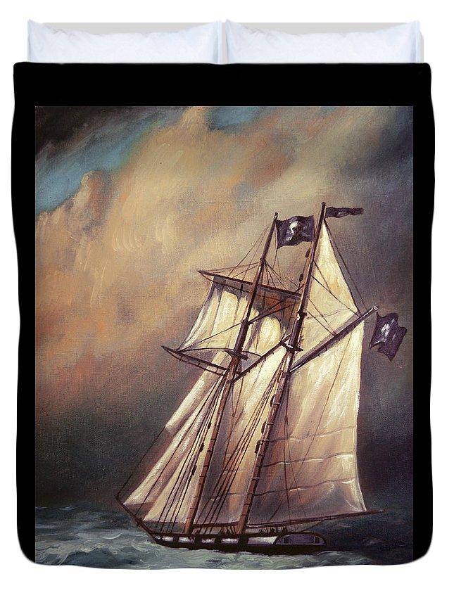 Pirate Schooner In Stormy Sea Duvet Cover