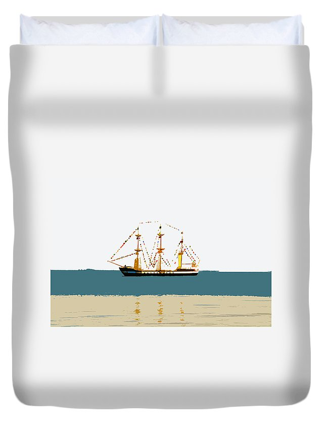 Pirate Ship Duvet Cover featuring the painting Pirate Ship On The Horizon by David Lee Thompson