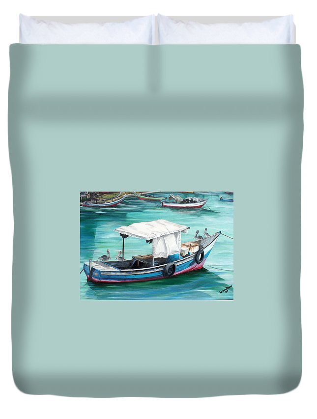 Fishing Boat Painting Seascape Ocean Painting Pelican Painting Boat Painting Caribbean Painting Pirogue Oil Fishing Boat Trinidad And Tobago Duvet Cover featuring the painting Pirogue Fishing Boat by Karin Dawn Kelshall- Best