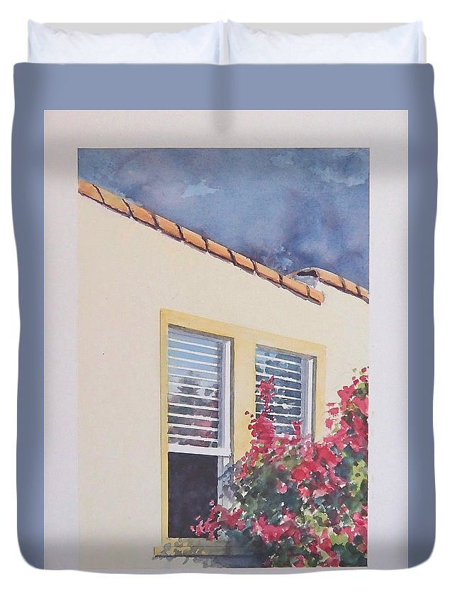 Cottage Duvet Cover featuring the painting Pismo Cottage by Philip Fleischer
