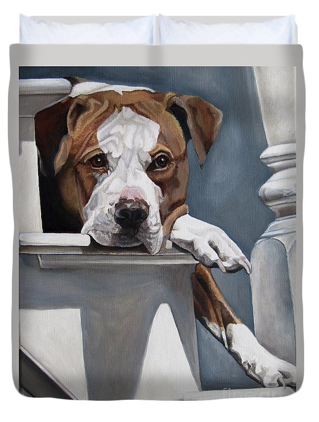Pit Bull Duvet Cover featuring the painting Pitbull Stare by Heidi Parmelee-Pratt