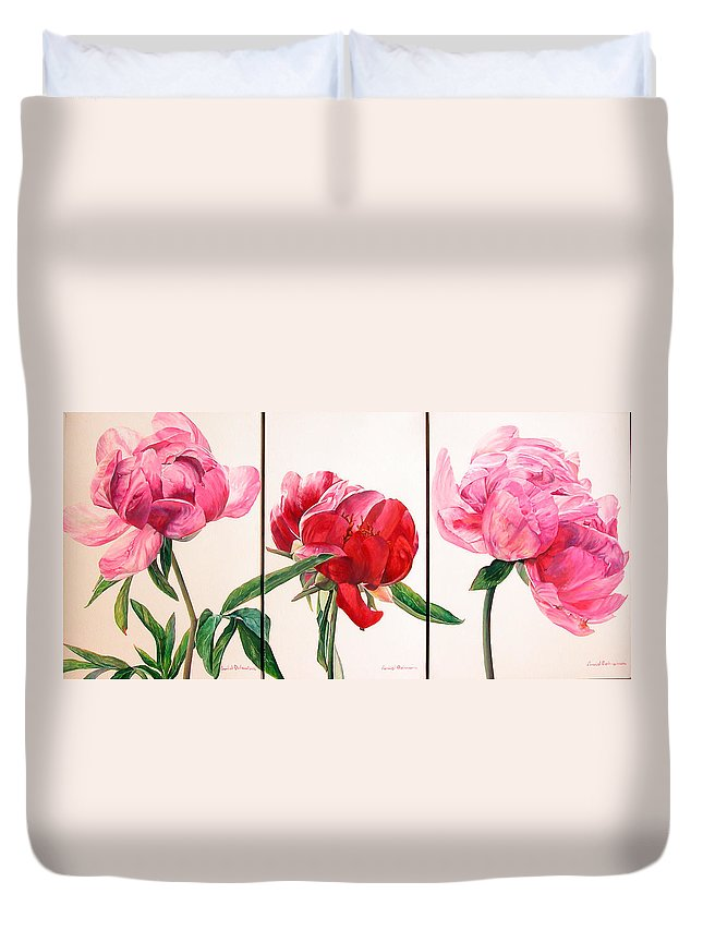 Floral Painting Duvet Cover featuring the painting Pivoines by Muriel Dolemieux