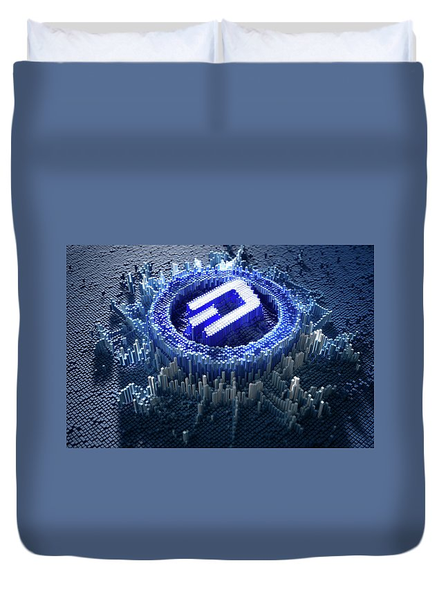 Dash Duvet Cover featuring the digital art Pixel Dash Concept by Allan Swart